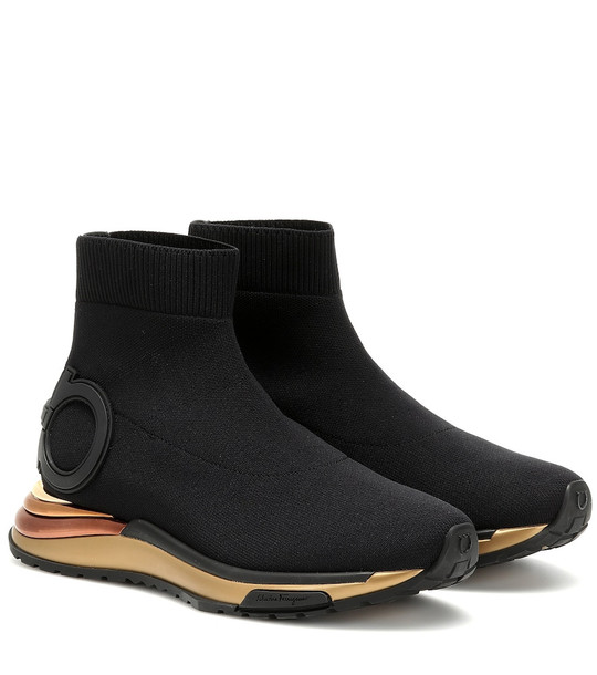 Salvatore Ferragamo Gardena sock sneakers in black