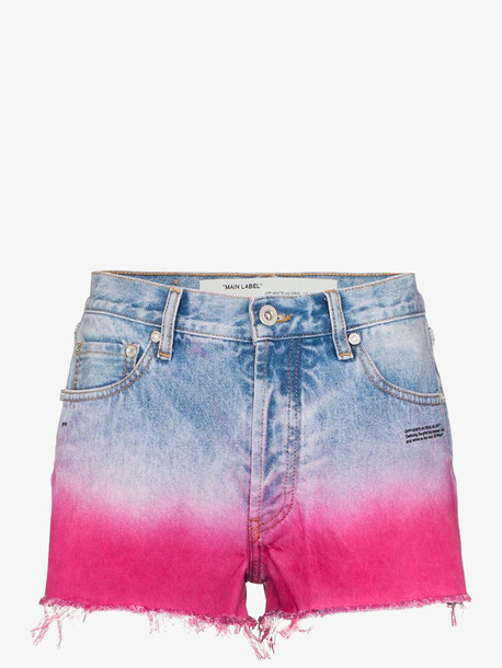 Off-White dip-dyed raw hem shorts in blue