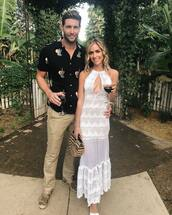 dress,kristin cavallari,celebrity,lace dress,maxi dress,white,white dress,keyhole dress