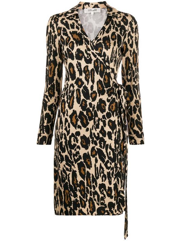 DVF Diane von Furstenberg leopard print shirt dress in brown