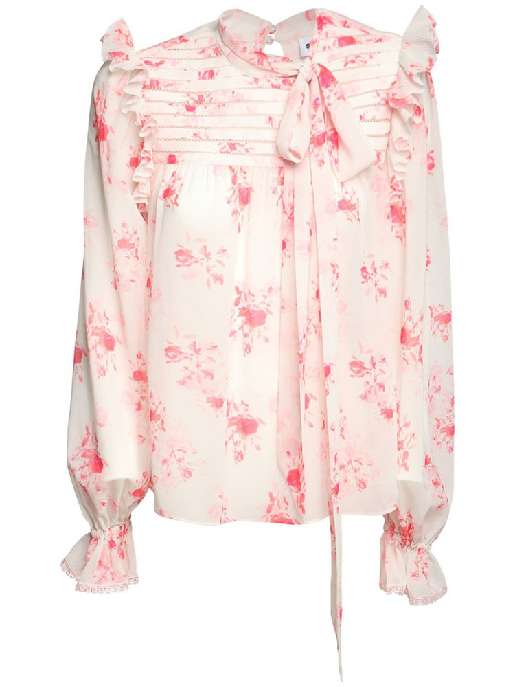 SELF-PORTRAIT Floral Print Chiffon Shirt in pink / white