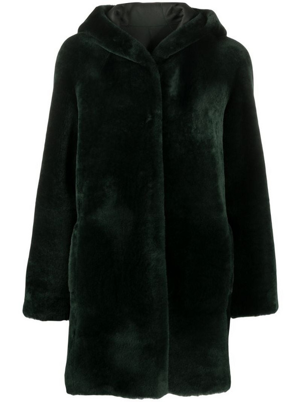 Blancha hooded faux fur coat in green