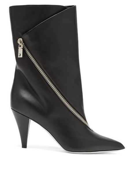Givenchy - Point Toe Leather Ankle Boots - Womens - Black