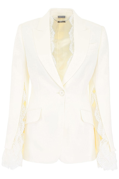 Alexander McQueen Blazer With Lace in ivory