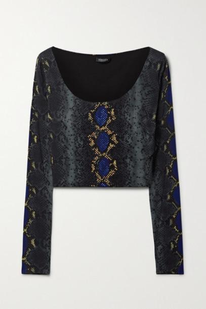Versace - Cropped Embellished Snake-print Stretch-jersey Top - Navy