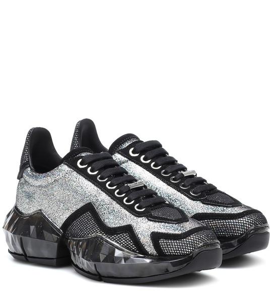 Jimmy Choo Diamond/F glitter leather sneakers in silver