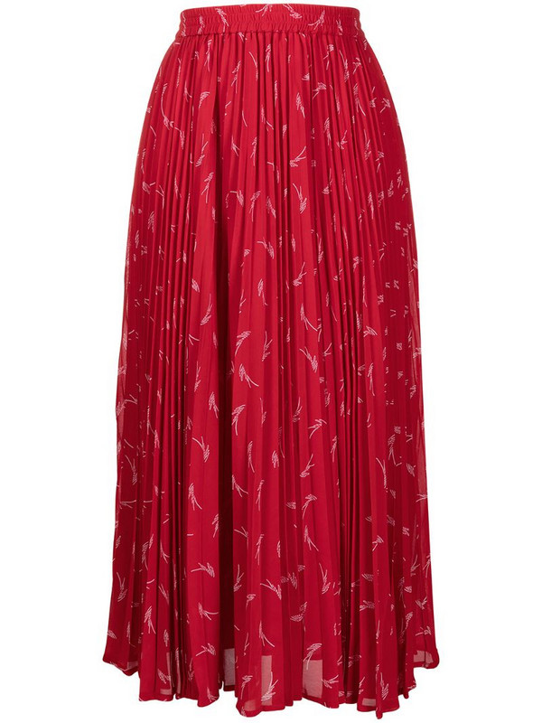 Michael Michael Kors graphic print pleated maxi skirt in red