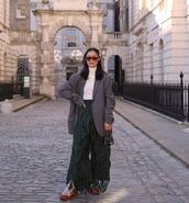 jacket,grey blazer,h&m,high waisted pants,shoes,wide-leg pants,mini bag,handbag,white turtleneck top