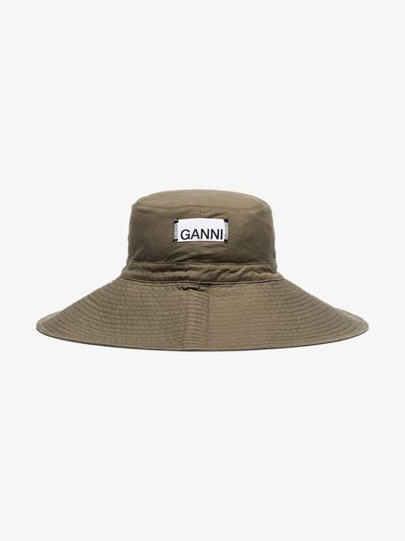 GANNI khaki ripstop cotton hat