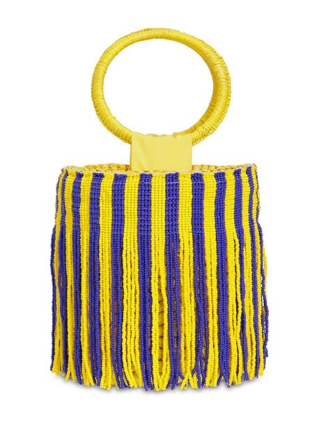 SENSI STUDIO Mini Striped Bucket Bag W/ Beaded Fringe in blue / yellow