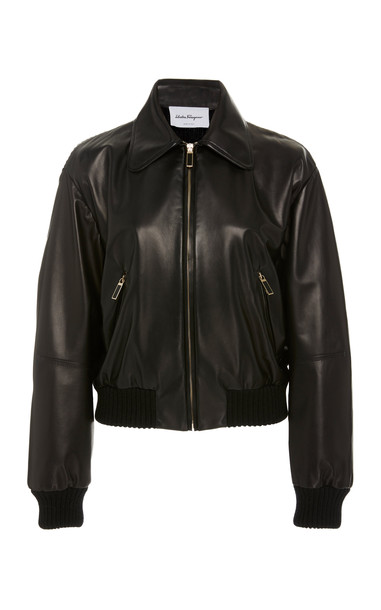 Salvatore Ferragamo Leather Motorcycle Jacket Size: 42 in black