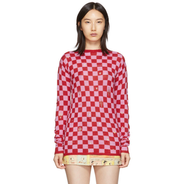 Marc Jacobs Red and Pink The Checkered Crewneck Sweater
