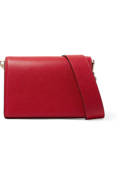 Valextra - Swing Textured-leather Shoulder Bag in red