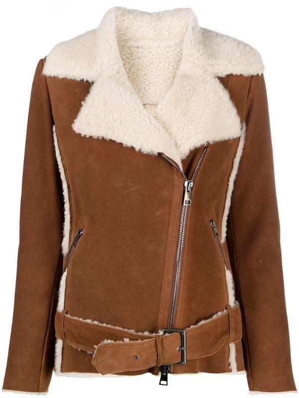Suprema shearling-trimmed belted jacket in brown