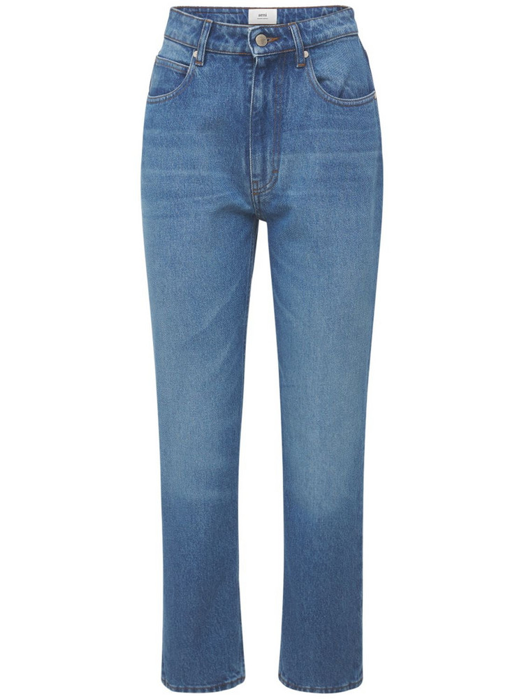 AMI ALEXANDRE MATTIUSSI Straight Fit Mid Washed Indigo Jeans in blue