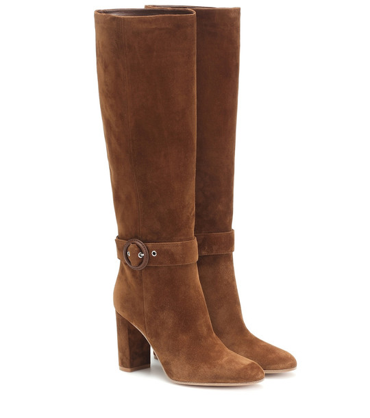Gianvito Rossi Suede knee-high boots in brown