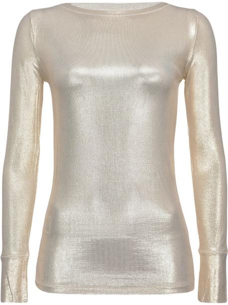 Pinko long sleeve metallic knit sweatshirt in silver