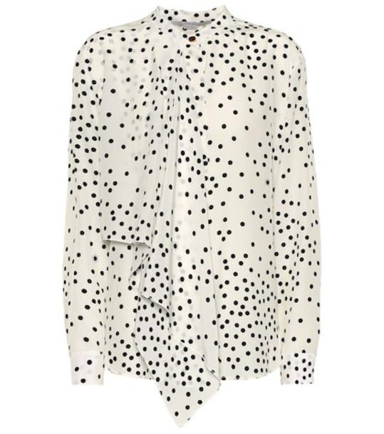 Stella McCartney Printed silk blouse in white