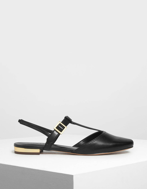 T-Bar Front Covered Sandals in black