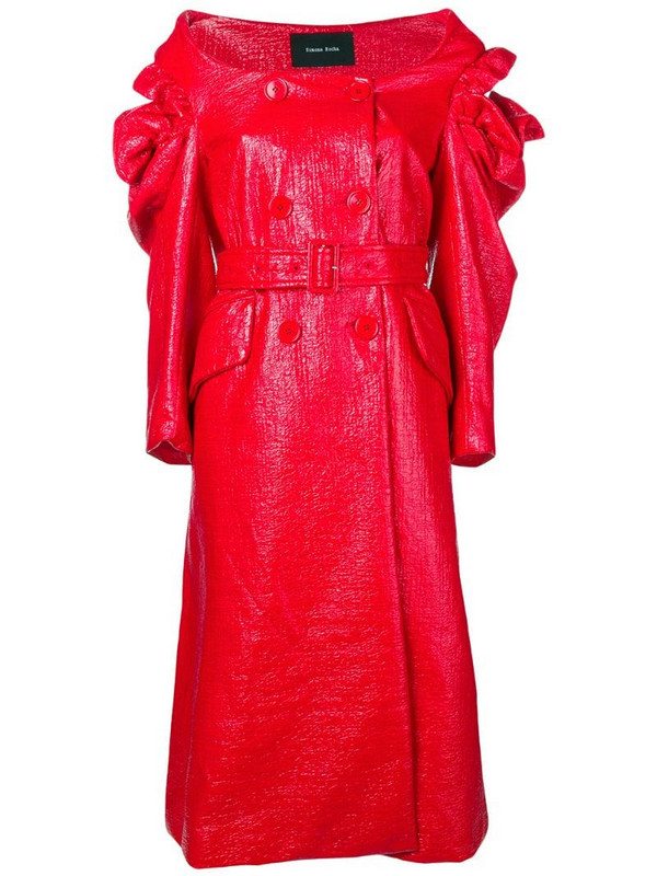 Simone Rocha varnished double-breasted coat in red