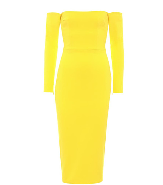 Alex Perry Chase off-the-shoulder midi dress in yellow