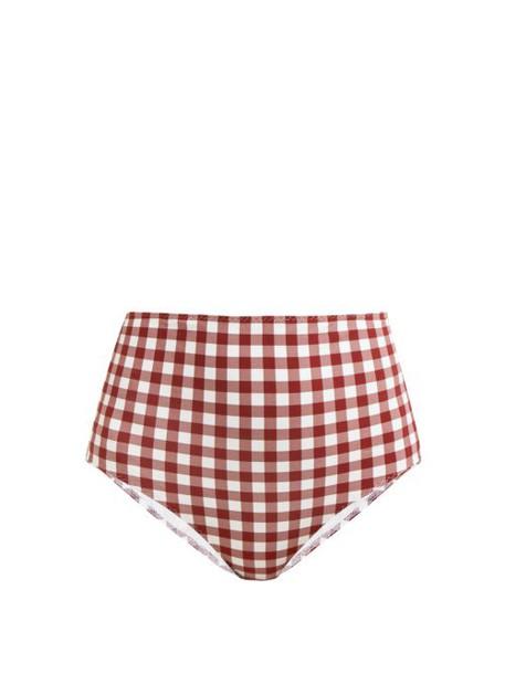 Belize - Pepe High Waisted Gingham Print Bikini Briefs - Womens - Red White