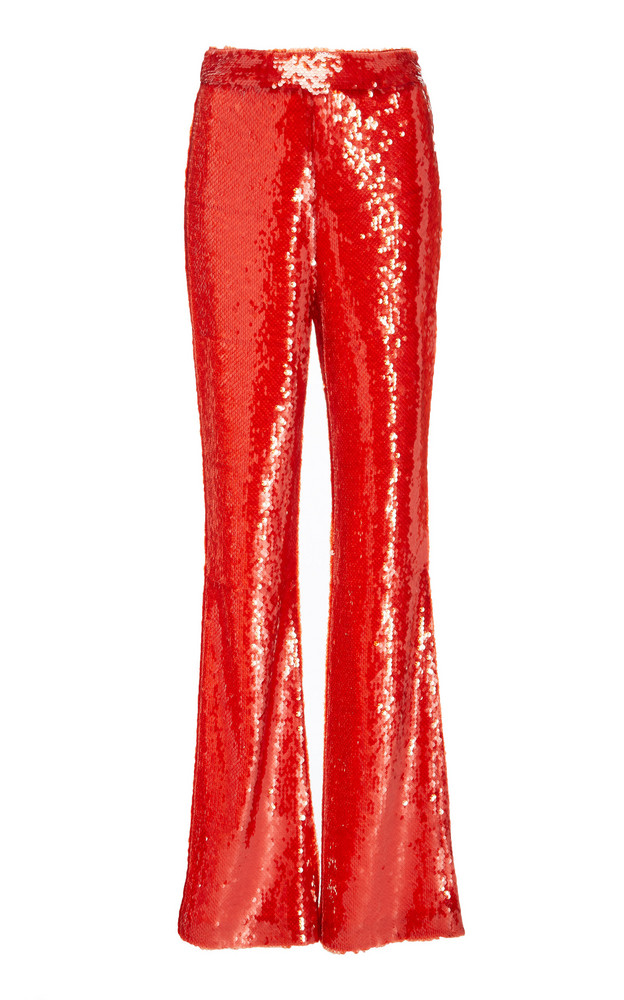 Sally LaPointe Sequin Embroidered Flare Leg Pants in red