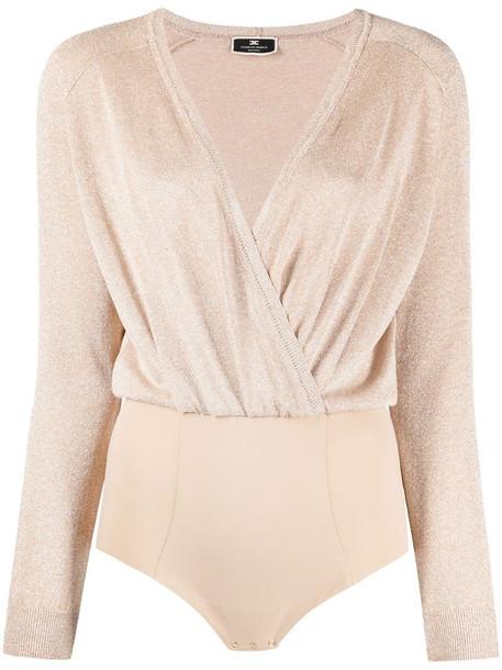 Elisabetta Franchi metallic-knit wrap top in neutrals