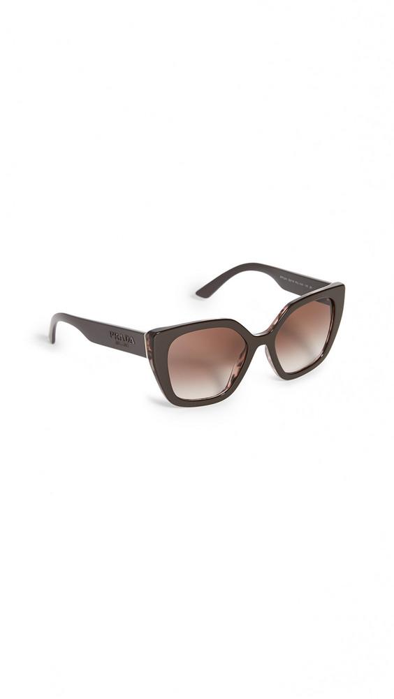 Prada Modern Monochrome Logo Cat Eye Sunglasses in brown / pink