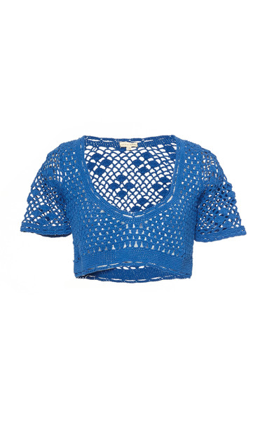 Akoia Swim Lilou Crocheted Cotton Top Size: XS/S in blue
