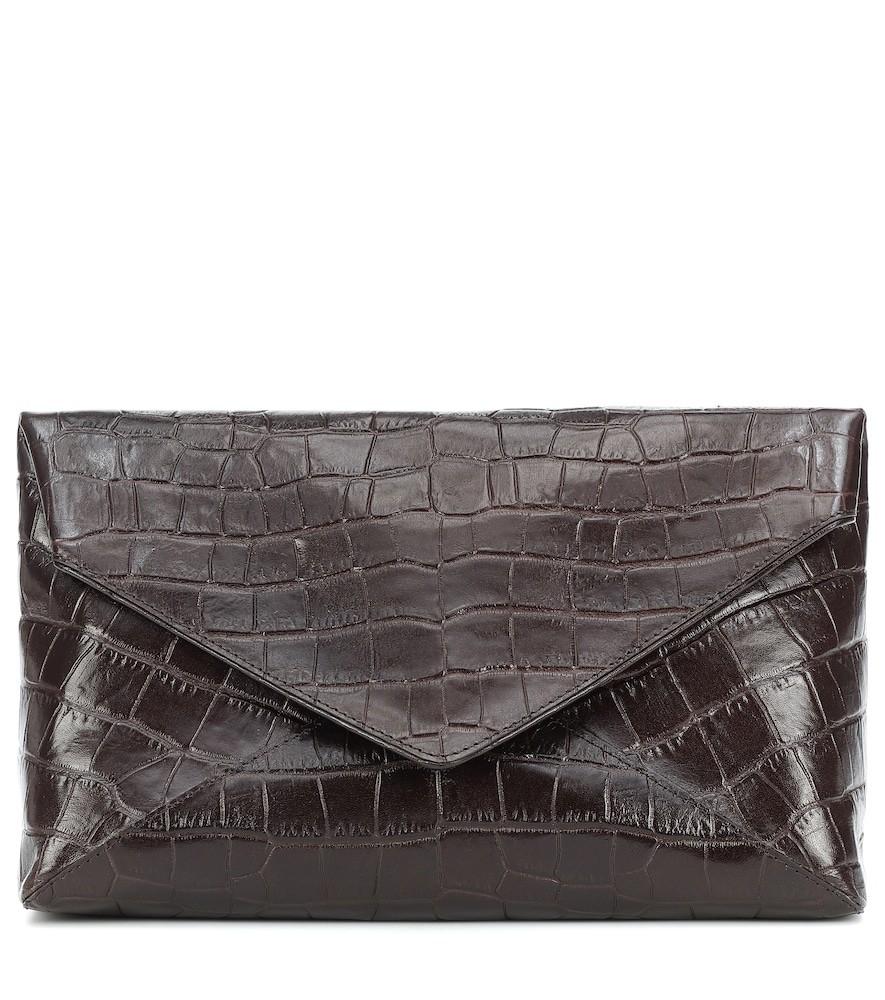 Dries Van Noten Croc-effect leather clutch in brown