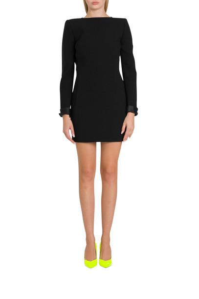 Saint Laurent Backless Dress In Double Sablé With Back Bows in nero