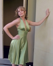 dress,satin,green,silk,satin dress,silk dress,swing dress