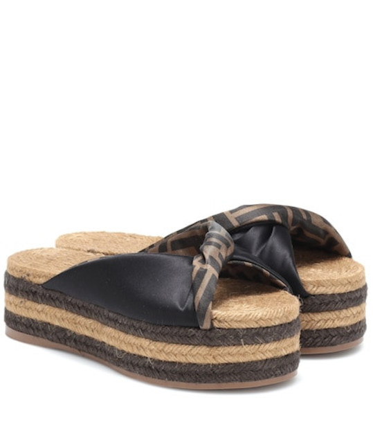 Fendi Satin platform espadrille sandals in black