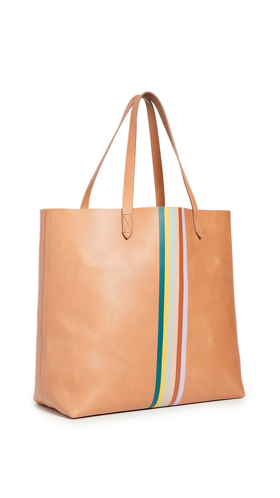 Madewell Classic Transport Tote with Rainbow Stripe in camel / multi