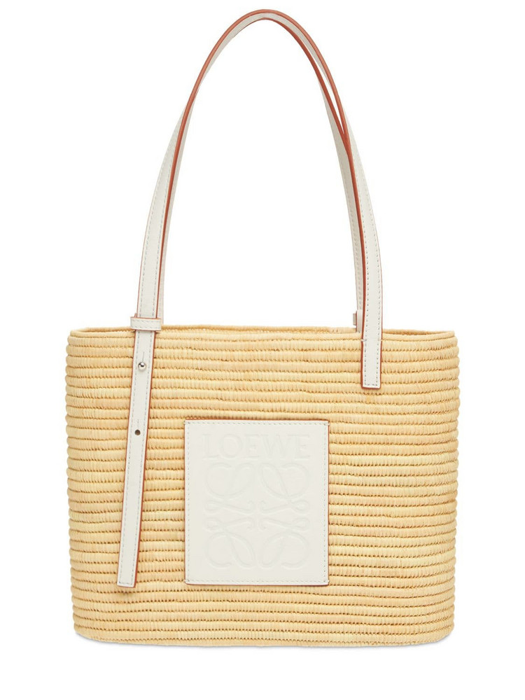 LOEWE Small Square Straw Basket Bag in natural / white