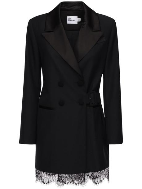 SELF-PORTRAIT Wool Blend Crepe & Lace Blazer Dress in black