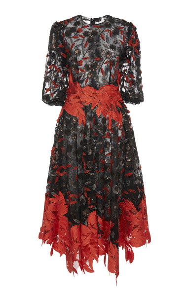 Costarellos Autumn Leaves Lace Dress Size: 40 in black