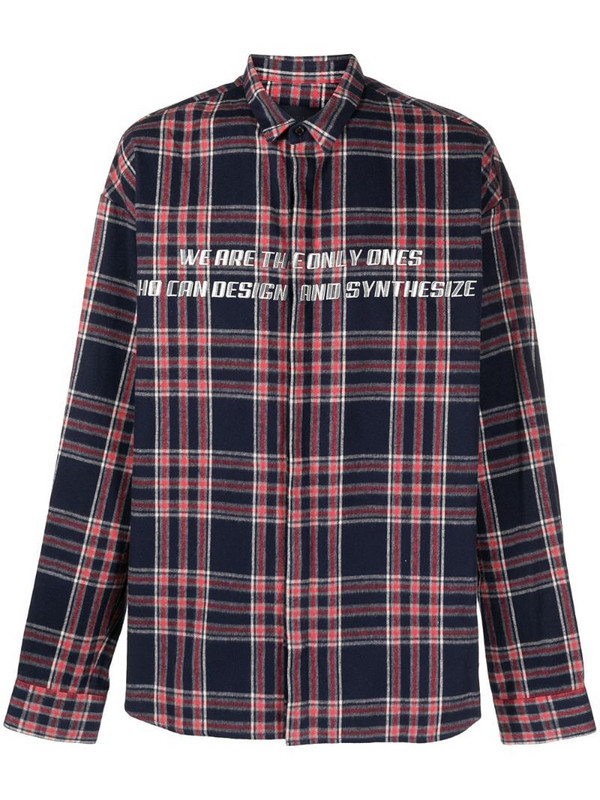 Juun.J check print button-up shirt in blue