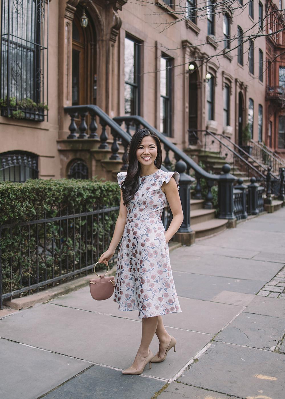 skirttherules blogger dress jacket jewels bag shoes floral dress spring outfits