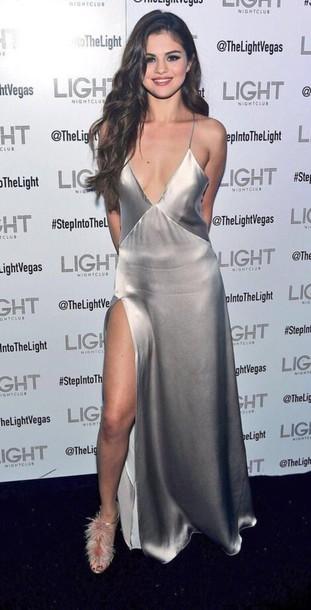 dress silver ring silver dress selena gomez selena gomez dress slit dress