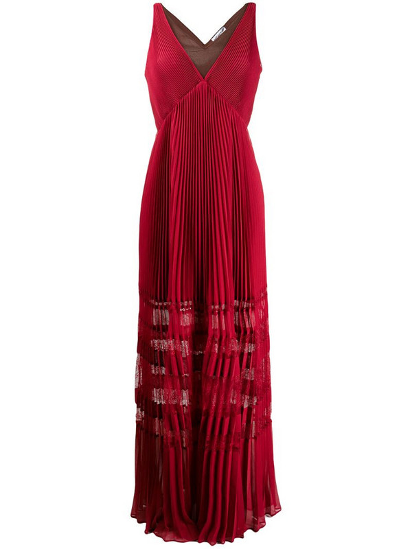 Self-Portrait lace-insert pleated maxi dress in red