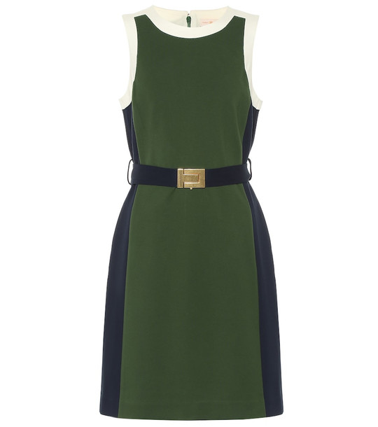 Tory Burch Belted jersey minidress in green