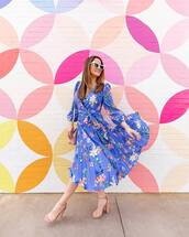 dress,midi skirt,pleated dress,blue dress,floral dress,wrap dress,long sleeve dress,sandal heels