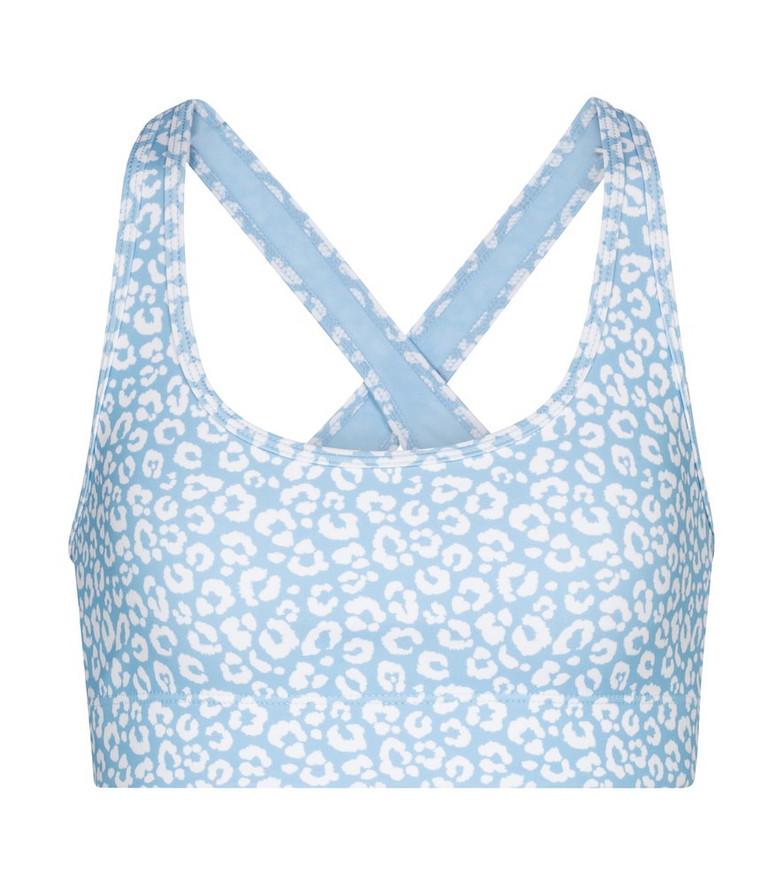 Adam Selman Sport Cross-Back leopard-print sports bra in blue