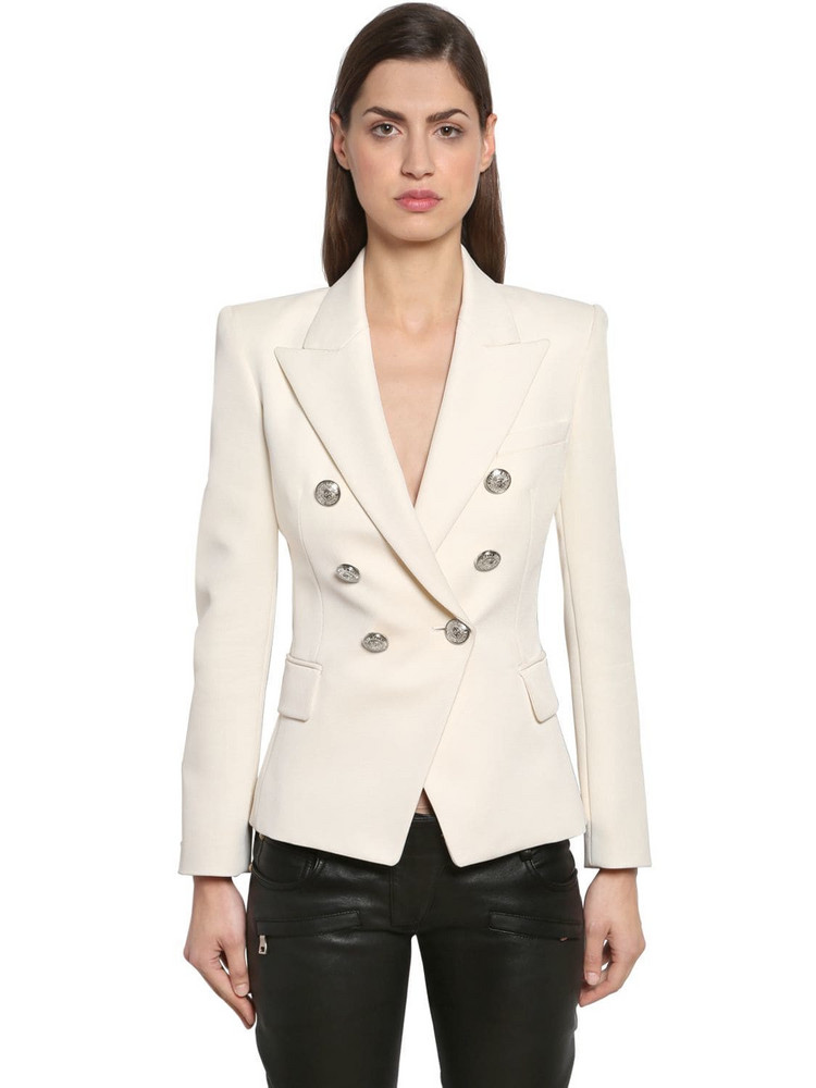 BALMAIN Double Breasted Grain De Poudre Blazer in white