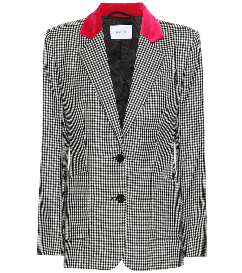 Racil John gingham wool blazer in black