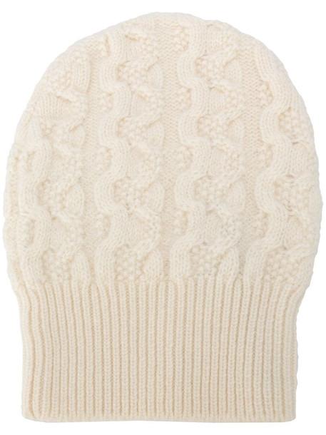 Agnona cable knit cashmere beanie in white