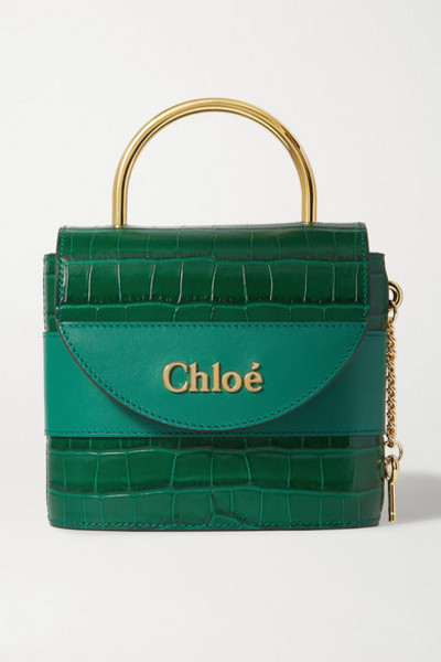 Chloé Chloé - Aby Lock Small Croc-effect Leather Shoulder Bag - Emerald
