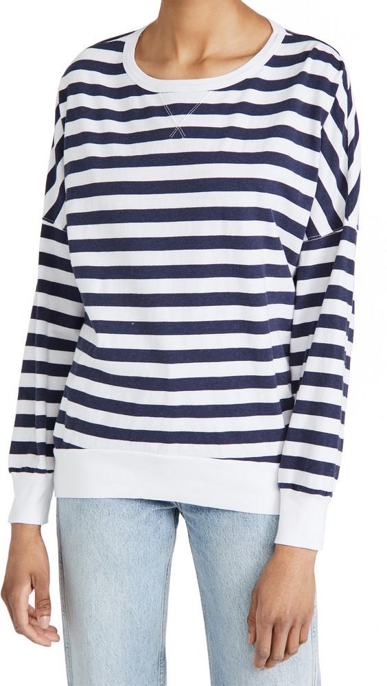 Stateside Stripe Sweatshirt Tee in white